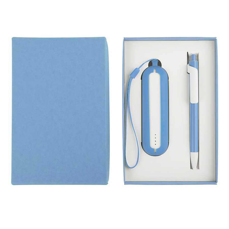 Набор SEASHELL-1: универсальное зарядное устройство (2000 mAh) и ручка в подарочной коробке