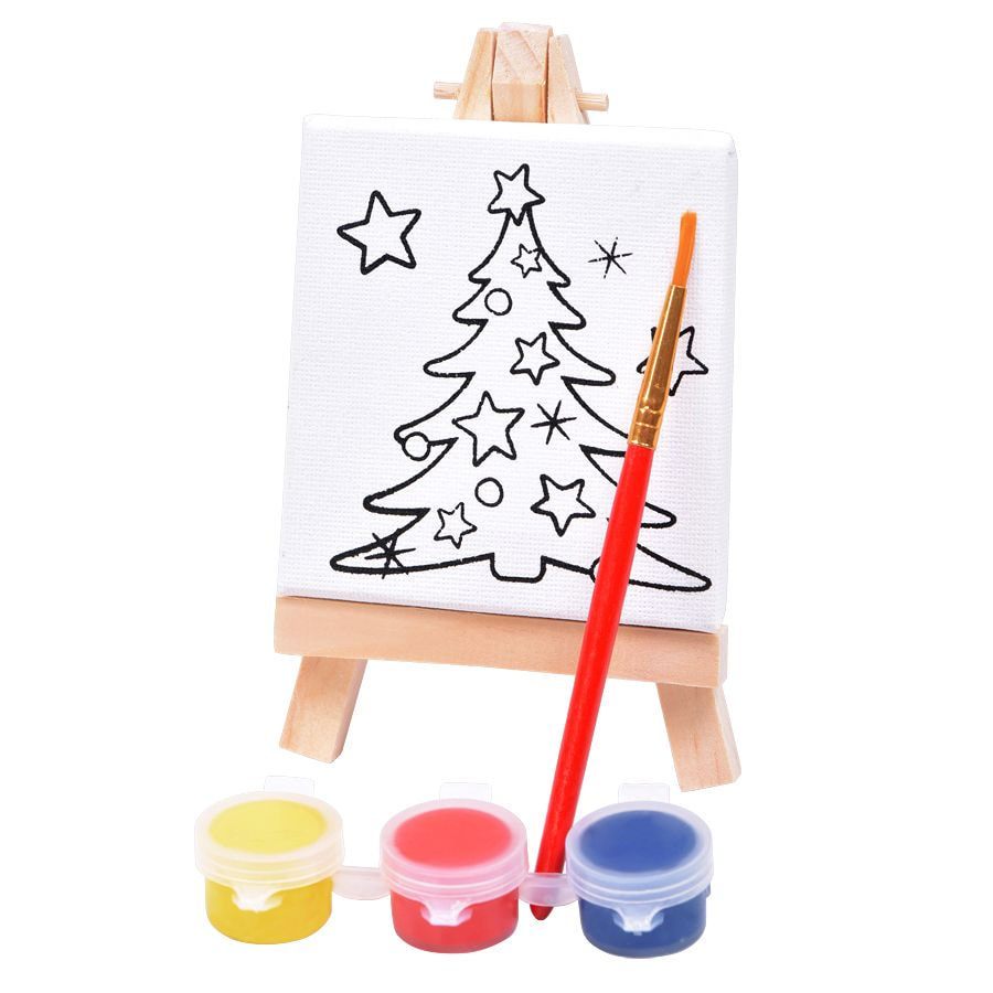 "Набор для раскраски ""Ёлочка"": холст, мольберт, кисть, краски 3шт, 7,5х12,5х2 см, дерево, холст"