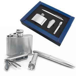 Набор: фляжка, нож, фонарик и авторучка; 19х13 см; металл; лазерная гравировка
