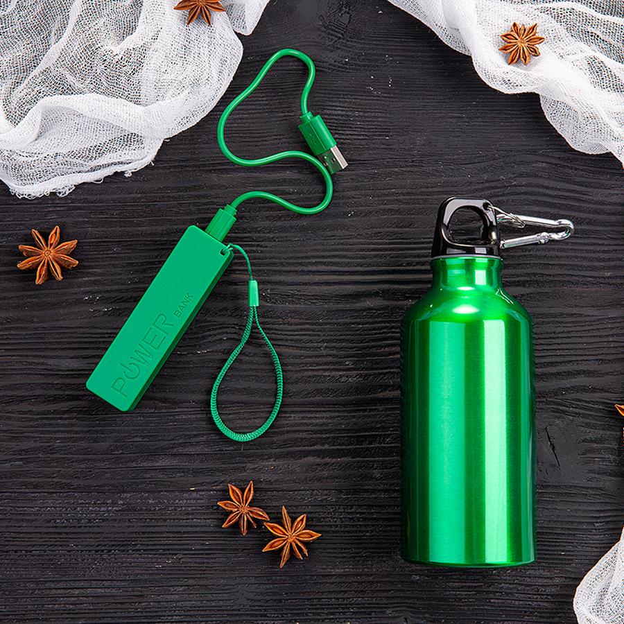 Набор подарочный ENERGYHINT: зарядное устройство, бутылка, коробка, стружка, зеленый