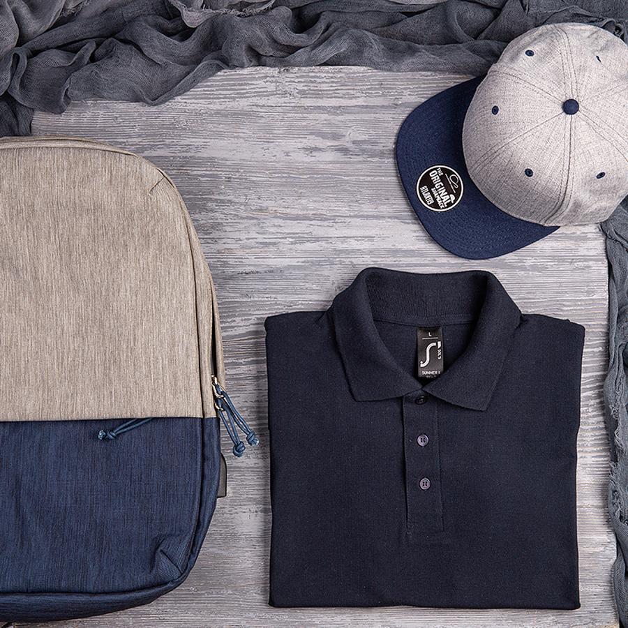 Набор подарочный CAPTOP: бейсболка, поло, рюкзак, серый, темно-синий