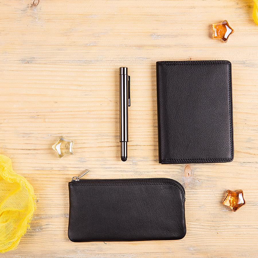 Набор подарочный YOURSUITE: бумажник водителя, футляр для ключей, ручка, черный
