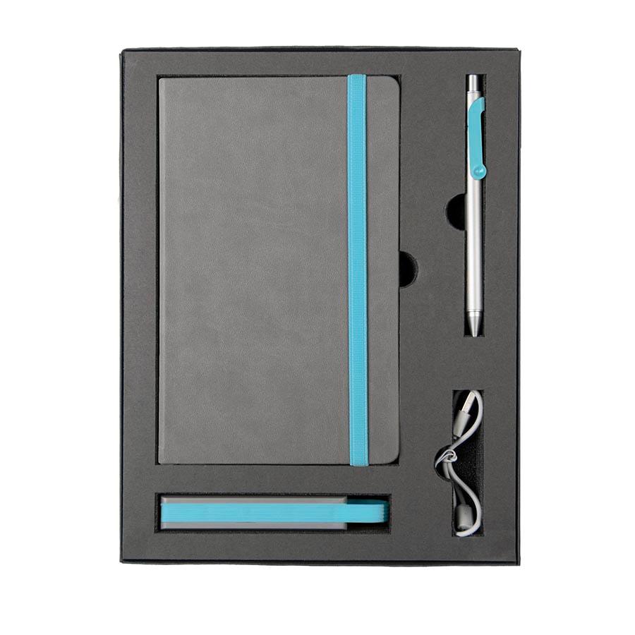 Набор  FANCY: универсальное зарядное устройство(2200мAh), блокнот и ручка в подарочной коробке