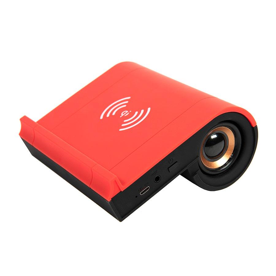 Колонка Bluetooth TIK-N-TALK, с функцией беспроводной зарядки, черный с красным