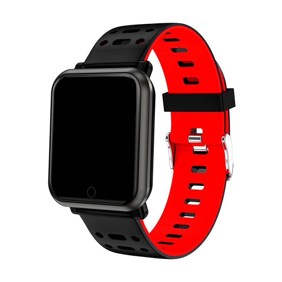 браслет к часам SAM черный/красный