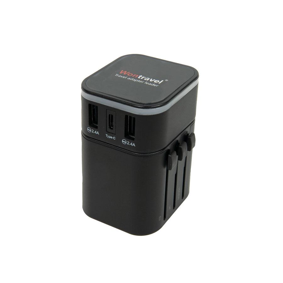 Адаптер сетевой дорожный TRAVELINO, черного цвета, с универсальным переходником для всех типов розеток, в черной сумочке на молнии