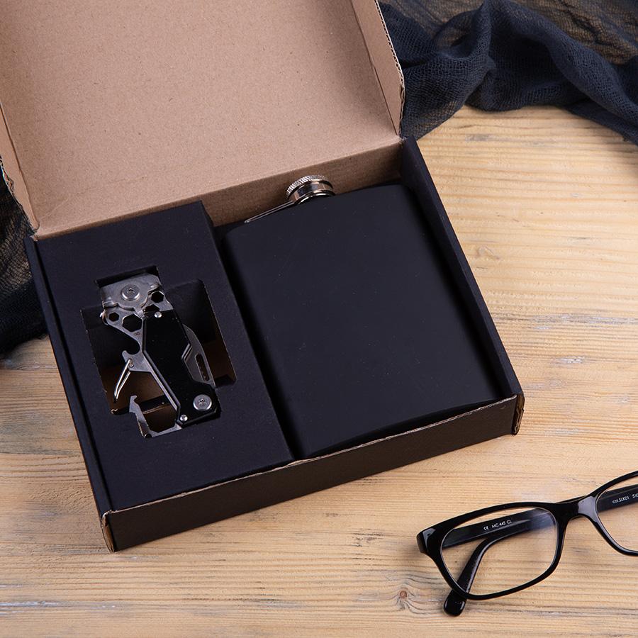 Набор подарочный WORKREST: фляжка, мультиинструмент, коробка, черный