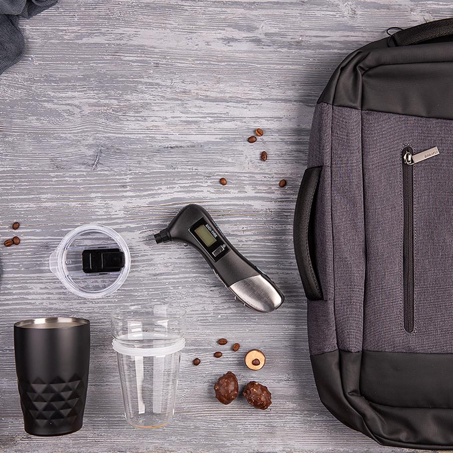 Набор подарочный PITSTOP: термокружка, манометр, рюкзак, черный