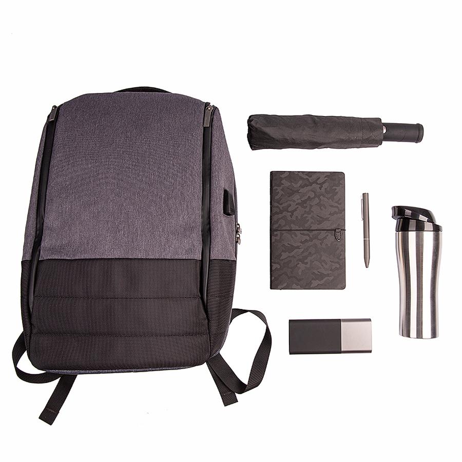 Набор подарочный ROYALFLUSH: бизнес-блокнот, ручка, термокружка, зарядное устройство,  рюкзак, серый