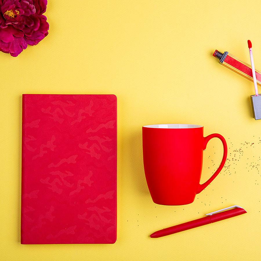 Набор подарочный RUBY BABE: бизнес-блокнот, ручка, кружка, коробка, стружка, красный
