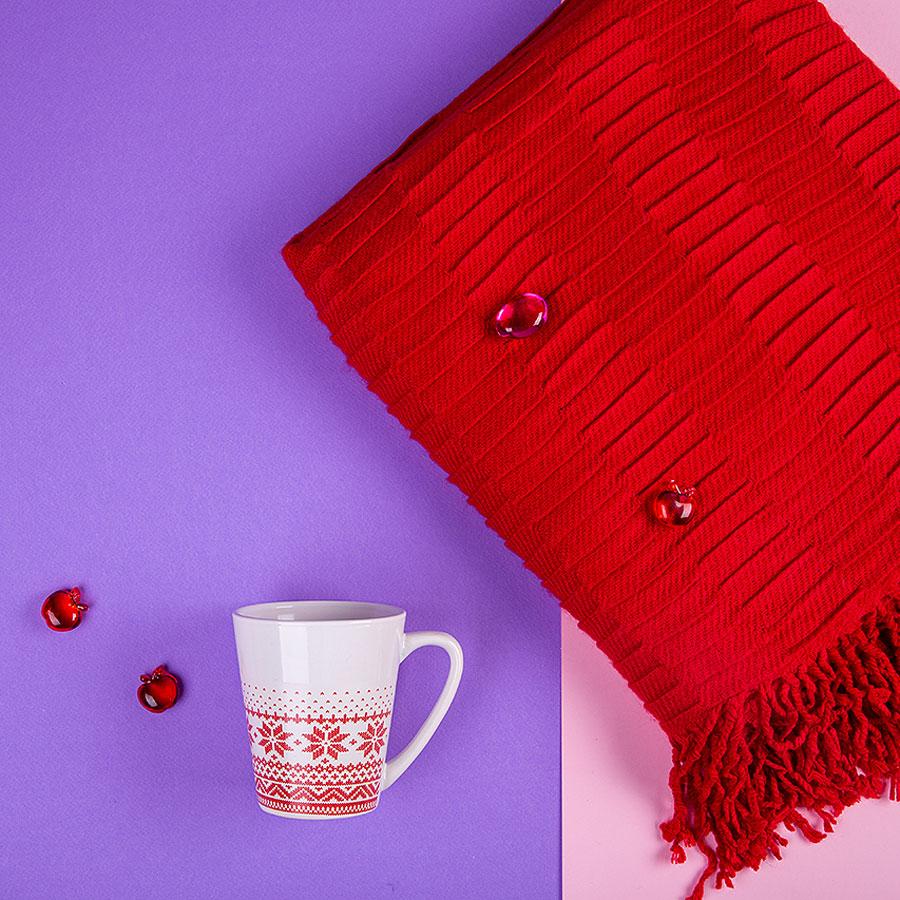 Набор подарочный NATIVE PASSION: плед, кружка, коробка, красный