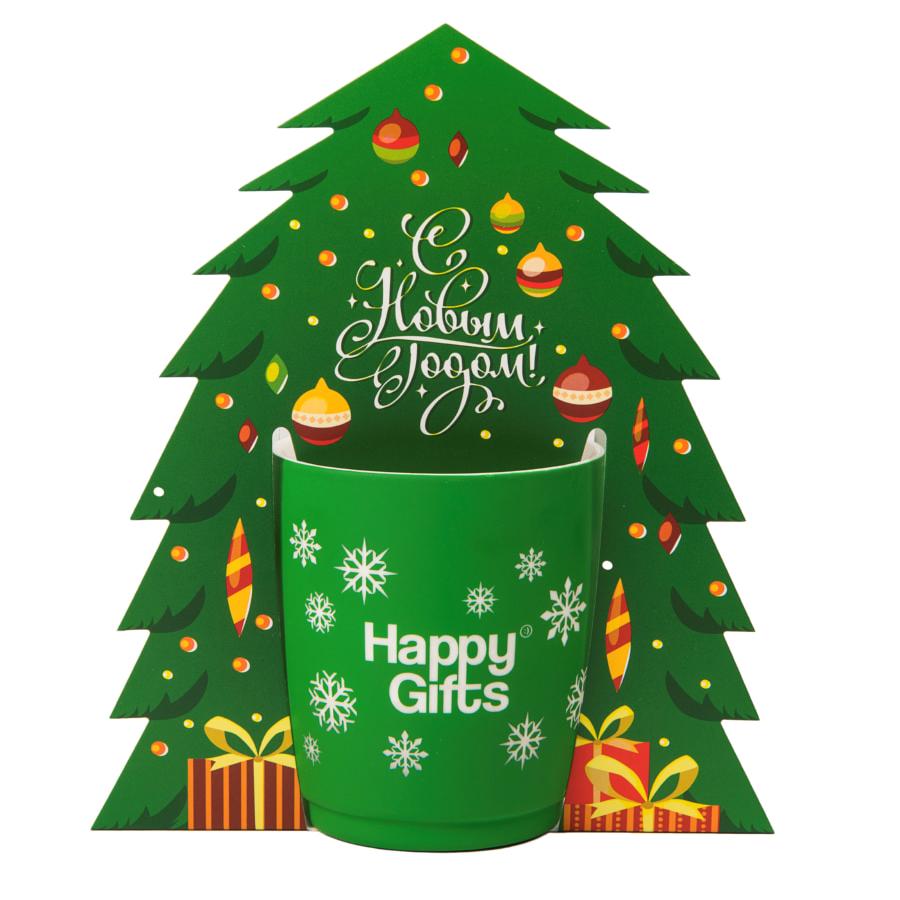 Коробка-украшение для чашки( D=8 см) в виде елки