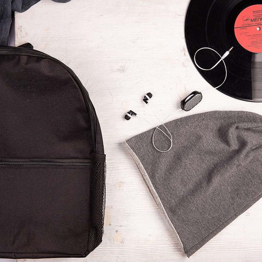 Набор подарочный BOYROCK: шапка, наушники, рюкзак, черно-серый