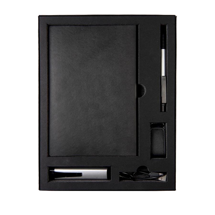 Набор  TWIZZY TOWER: универсальное зарядное устройство (2200мАh), блокнот, USB flash-карта и ручка в подарочной упаковке