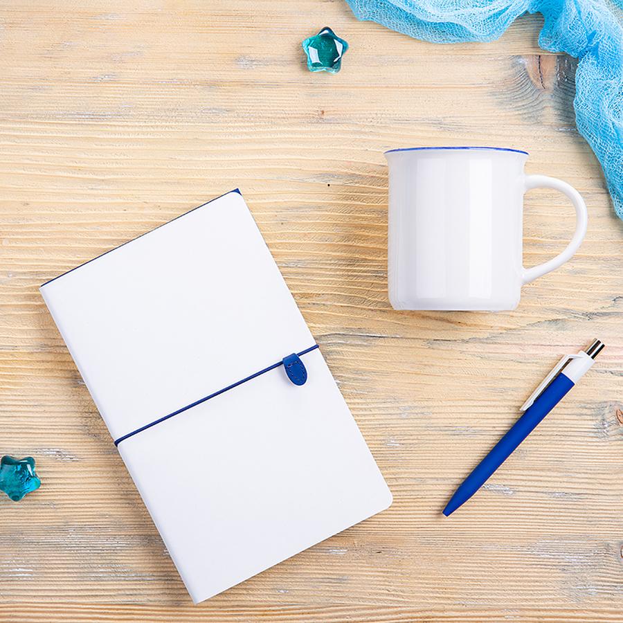 Набор подарочный FINELINE: кружка, блокнот, ручка, коробка, стружка, белый с синим