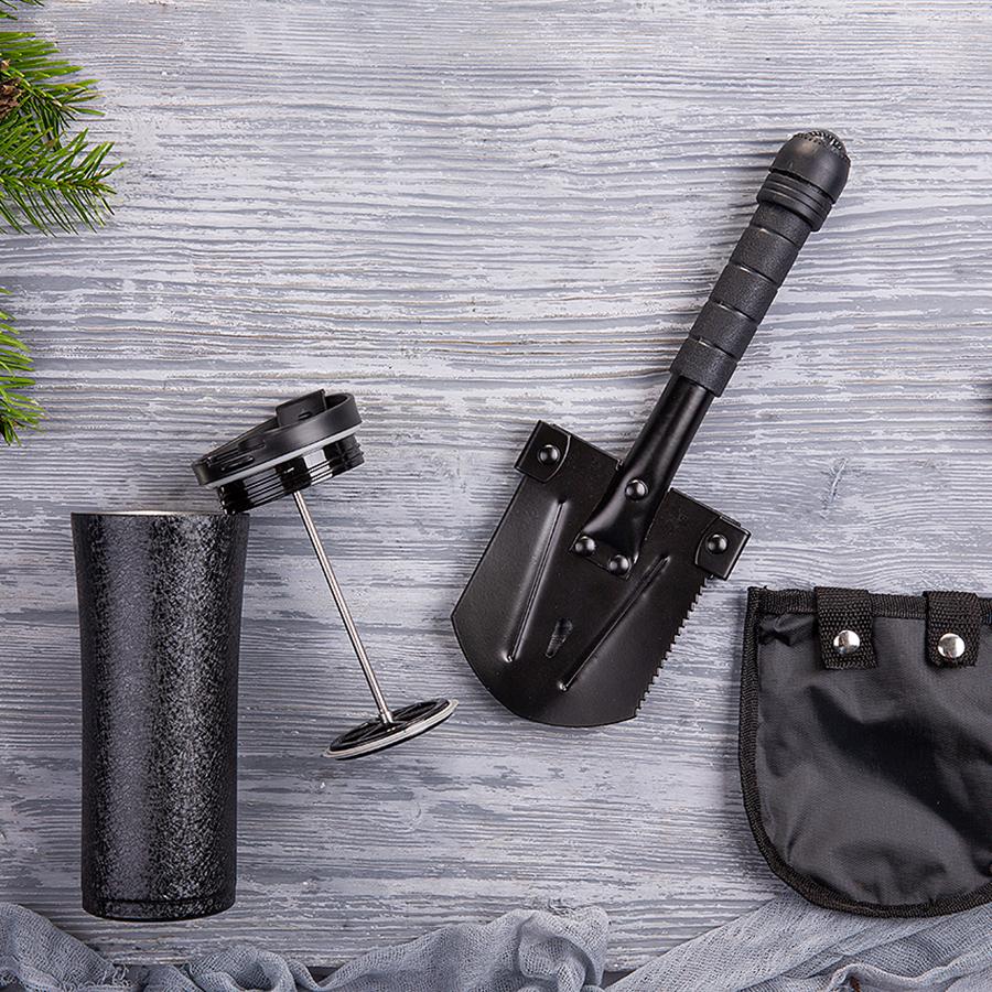 Набор подарочный HIDDENTOWN: лопата, термокружка, коробка, стружка, черный