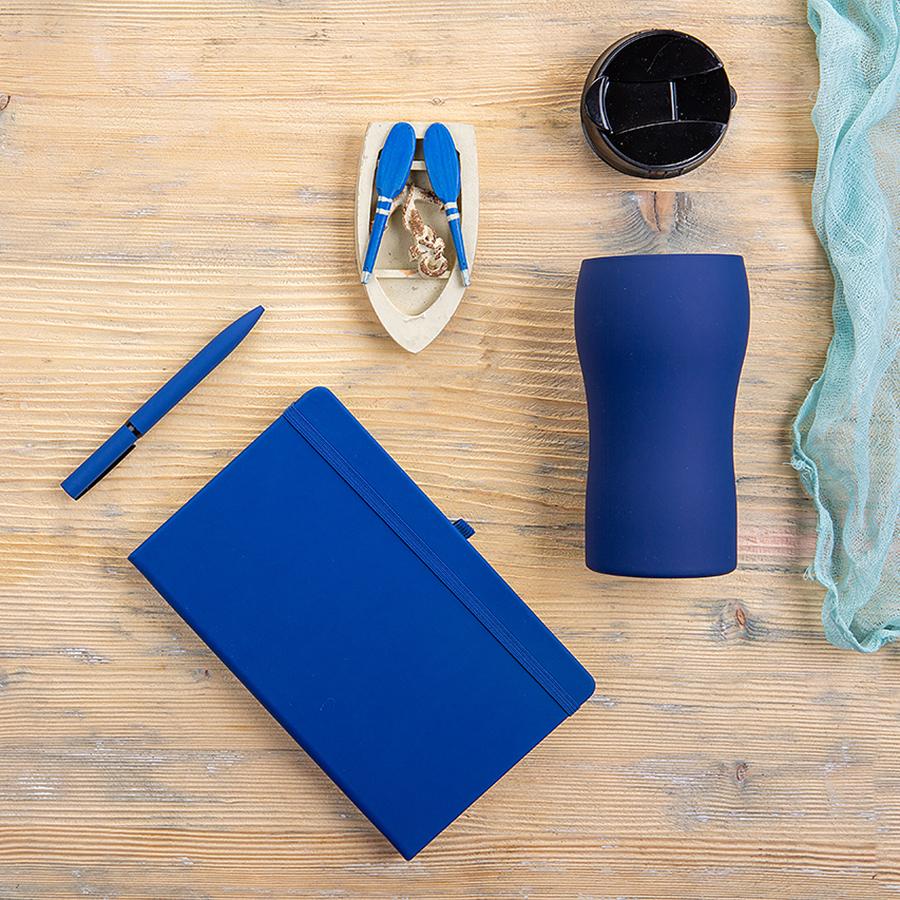 Набор подарочный SILKYWAY: термокружка, блокнот, ручка, коробка, стружка, темно-синий