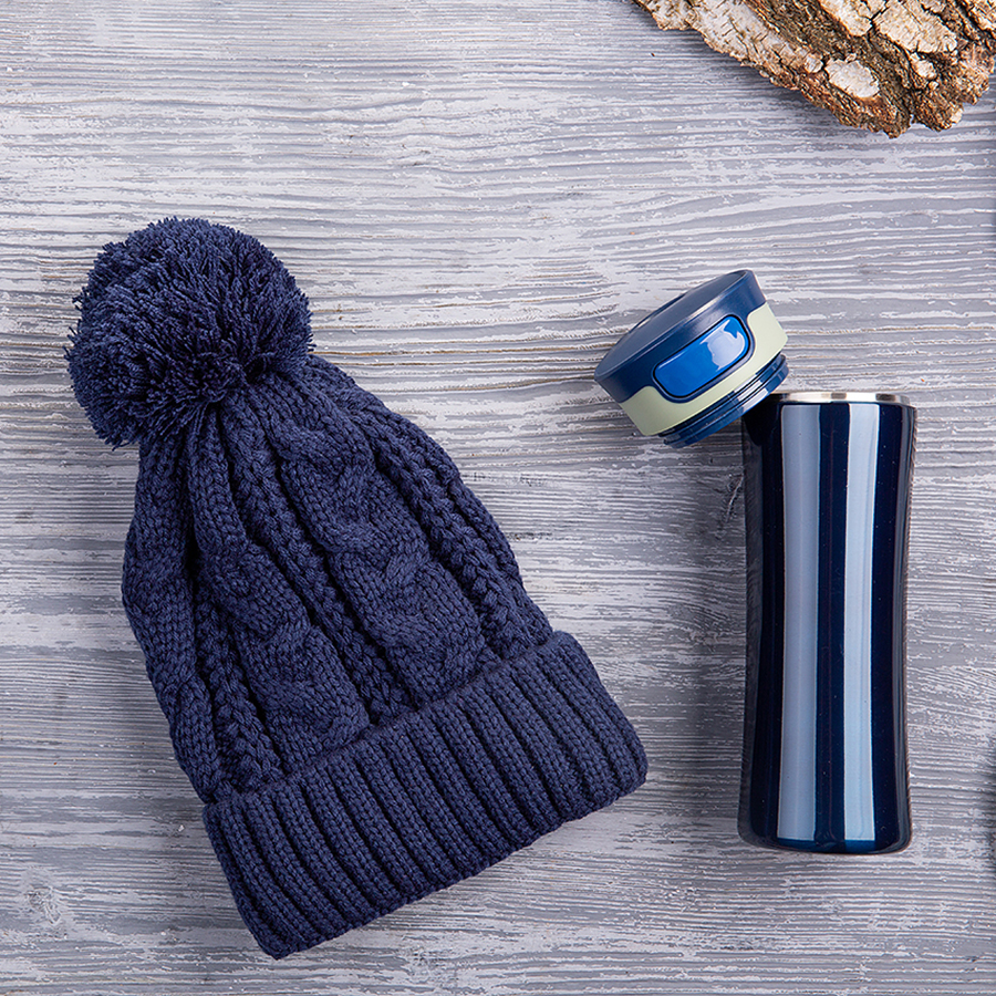 Набор подарочный HOT`HAT: шапка, термокружка, коробка, стружка, синий