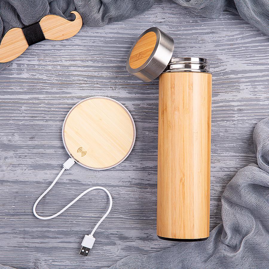 Набор подарочный WOODNUT: термобутылка, беспроводное зарядное устройство, коробка, стружка