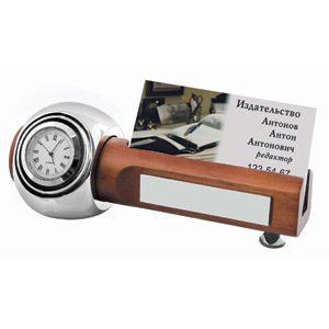 Прибор настольный: часы и подставка для визиток