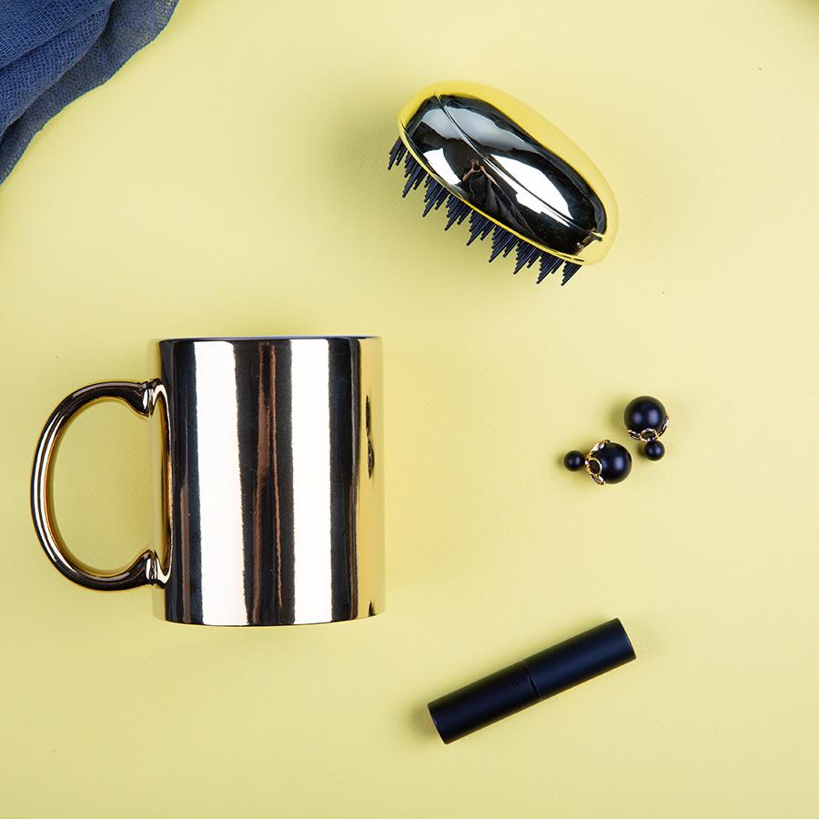 Набор подарочный SHINING BEAUTY: кружка, расческа, коробка, золотой