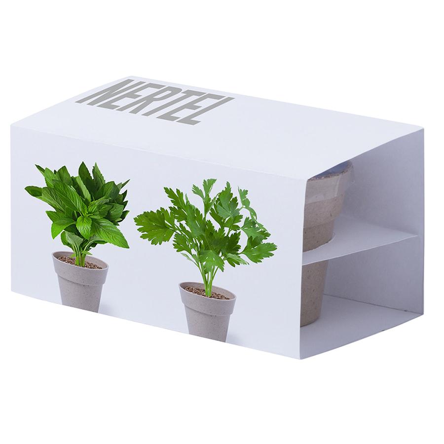 Набор NERTEL: два горшочка для выращивания петрушки и мяты с семенами и грунтом