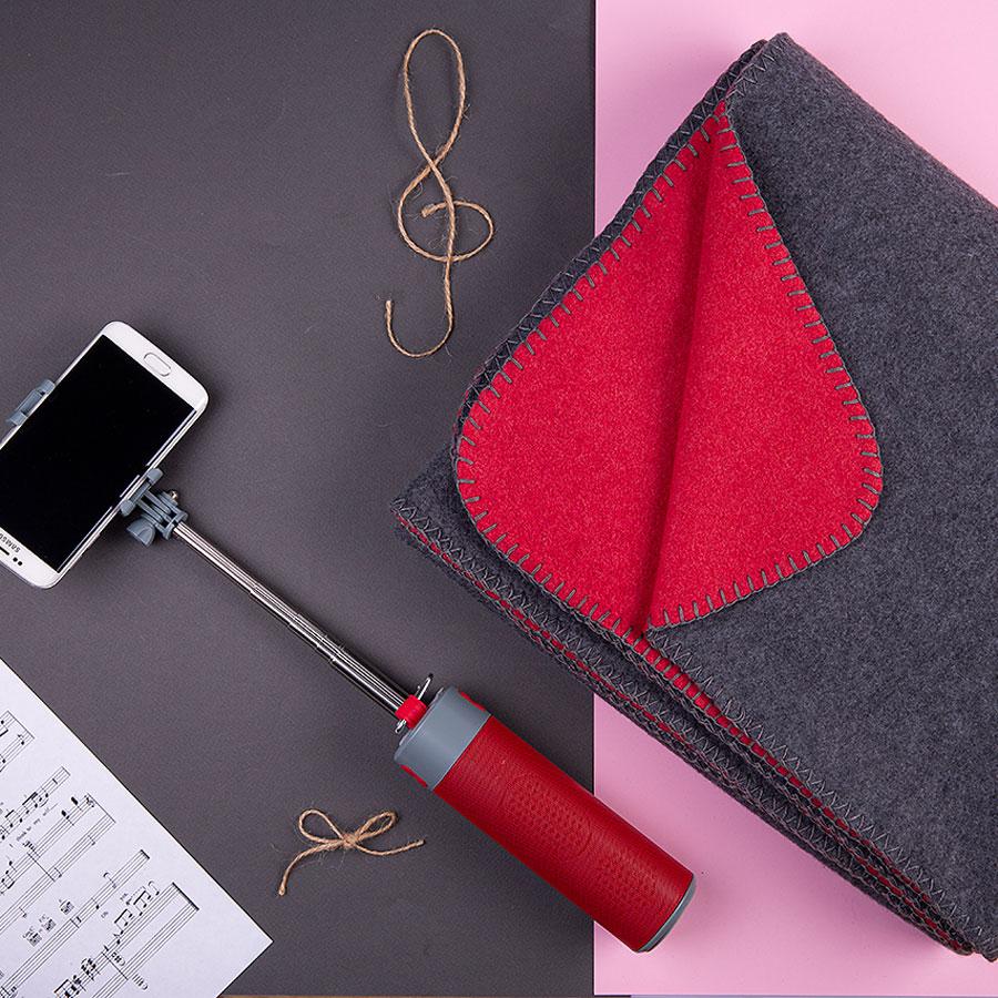 Набор подарочный MILD JINGLE: плед, колонка с зарядным устройством и моноподом, коробка. красный